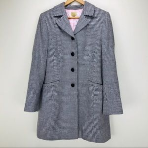 Caslon Tweed Dress Coat Satin Lined Button Front
